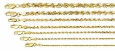 "10K Oro Amarillo 1mm-5mm Diamante Corte sólido Soga Cadena Collar Colgante 16"" - 32"""