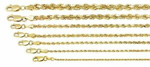 "10K Yellow Gold 1mm-5mm Diamond Cut Solid Rope Chain Pendant Necklace 16""- 30"""