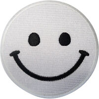 White Smiley Face Patch Iron Sew On Clothes Bag T Shirt Jeans Embroidered Badge