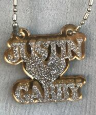 Double Name Necklace Couple Any Name Plate 2 Names Heart Laser Cut Diamond Look