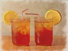 "*Postcard-""2 Tea Glasses/Mason Jars/"" ...w/Straws & Lemon  -Classic...-(XT60)"
