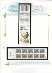 US 1988 2283a  $5 BOOKLET BK158 - BC41 25c 2 PANES 0f 10 PHEASANTS STAMPS MNH
