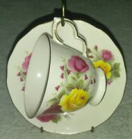 Queen Anne Bone China Tea Cup & Saucer Rose Pattern  England Yellow Pink vtg