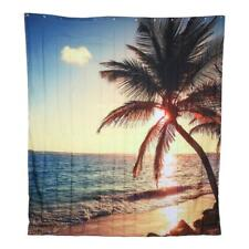 3D Curtain Bathroom Decorations Shower Thick Dusk Beach Wall Decoration