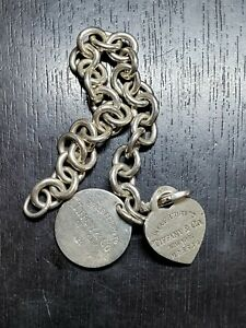 Vintage Tiffany & Co, Sterling Silver Bracelet with two Charms Round and Heart