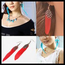 Fashion Womens Feather Tassel Dangle Eardrop Hook White Polka Dot Manual Earring