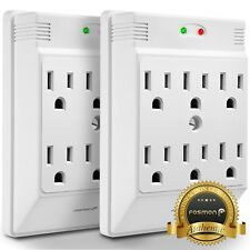 Fosmon 2x [ETL Listed] 6 Outlet 700 J Wall Tap Mount Surge Protector Outlet Plug