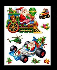 Cute Christmas Window Stickers - Racing Car + Train Stickers (DP63) A