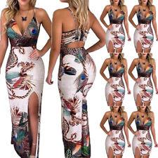 As Mulheres Floral Boho longo maxi vestido de festa coquetel vestido de Praia Verão De Férias