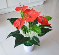 Artificial Fake Flower Anthurium Bouquet Wedding Party Floral Home Garden Decor