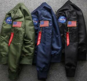 Hot MENS EMBROIDERED NASA JACKET MILITARY ARMY FLIGHT BOMBER JACKET