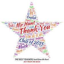 Personalised Thank You Teacher Word Art Print -  STAR