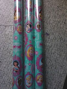 Disney Princess Blue & Pink GIFT WRAP WRAPPING PAPER ROLL 80 SQ. FT or 60 SQ. FT