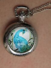 SILVER TONE  PEACOCK NECKLACE PENDANT POCKET WATCH ART WATCH LONG CHAIN