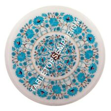 """12"""" White Marble Round Coffee Table Top Turquoise Inlay Floral Arts Decor M096"""