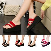 Women Beach High Heel Wedge Platform Flip Flops Sandal Slipper Shoes Sizes