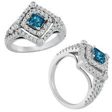 1.5 Carat Blue Princess Diamond Fancy Halo Wedding Bridal Ring 14K White Gold