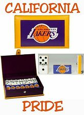 Los Angeles Lakers Dominoes Game Set Double Six Domino Leather Case Man Cave New
