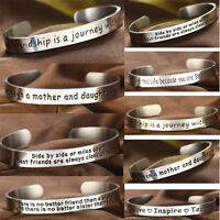 Bracelet Cuff Open Bangle Engraved Stainless Steel Family Friends Inspiration