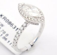 18k White Gold SI3/I 1.76CT,Marquise Diamond Accents Halo Engagement Ring 6.5