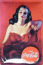 Coca Cola Lady in a Red Dress-Tôle Bouclier 20x30cm Publicité Bottle publicitaires Bouclier