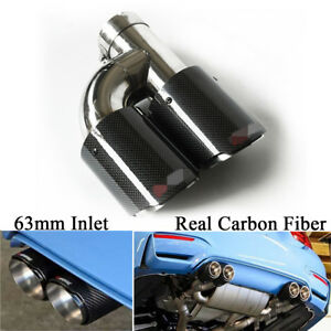 Glossy Carbon Fiber 63mm Inlet Car Exhaust Pipe Dual Tail Muffler End Tip- Left