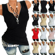 Plus Size Womens Sleeveless Zipper Vest Tops Summer Ladies Casual Blouse T Shirt