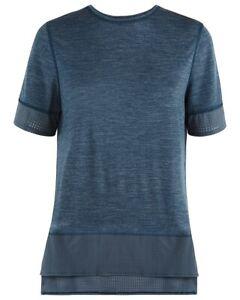 Sweaty Betty NWOT Womens Breeze Blue Marl Merino Wool Blend T-Shirt Tee Size L