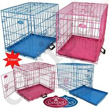 More details for pink blue dog cage puppy metal training pet crate carrier xs s m l xl easipet
