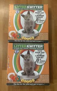Lot(2) NIOB Litter Kwitter 3 Step Cat Training System Teach Kitty to Use Toilet
