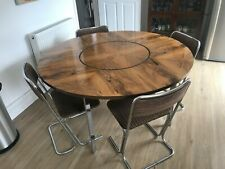 Merrow Associates Rosewood and Chrome Dining Table and four contemporary chairs