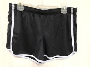 Justice Mesh Black White Stripe Athletic Fitness Workout Running Shorts Size 16