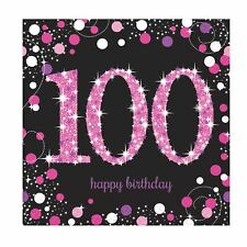 16pk Pink Sparkling Celebration 100th Birthday Luncheon Napkins 33cm