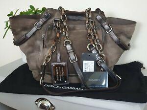 Dolce&Gabbana D&G MISS POCKET Khaki Bucket Tote Rustic Suede Leather Bag Handbag