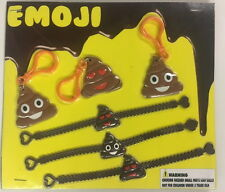 12 Emoji Poop Poo Emoticon Bracelets And Backpack Clips Party Favors Goody Bags