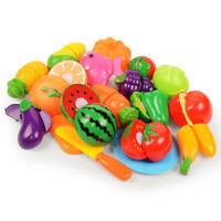 6-24pcs Plastic Pretend Kitchen Toy Fruit Vegetable Cutting Food Set for Kids