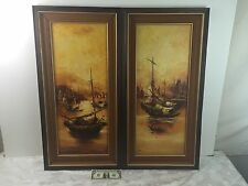 Pair of Vintage Original Canvas Oil Paintings 'Sailboat' Signed By N. C. Suwat