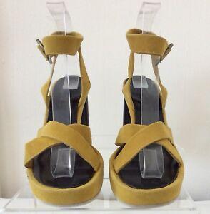 NEW Robert Clergerie Suede Sandals Womens Size6 Yellow/Mustard