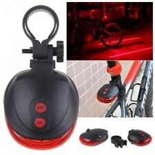 Bike Red Laser Beam Bicycle Cycling 5 LED Rear Lights Safety Tail Lamp+ Battery