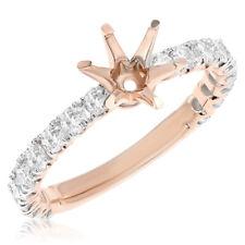 18K ROSE GOLD 2C DIAMOND PAVE ROUND ENGAGEMENT SEMI MOUNT RING