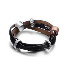 Black Genuine Leather Bracelet - Bead Crystal and Stainless Steel Bracelet