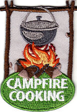 """CAMPFIRE COOKING"" - CAMPING - FOOD - OUTDOORS - Iron On Embroidered Patch"