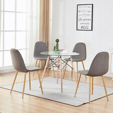 Mcombo 5 Piece Dining Table Set 4 Chair Glass Round Table Dining Chairs Coffee