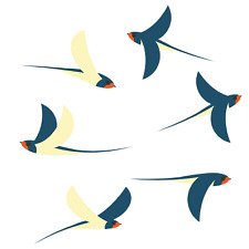 Swallow Window Clings, Set of 6 Window Decal Flying Swallows, Stop Bird Strikes