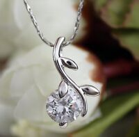White Gold gp 2.0ct Round Cut lab Diamond Rose Love Party Pendant Necklace New