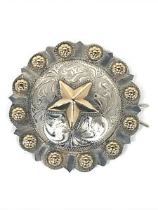 Texas Star Western Barrette Wild West Sterl Silver Gold Hand Engraved Vogt Like