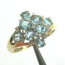 558 - Stilvoller Ring aus Gelbgold 585 - Apatite und Diamanten - 2100