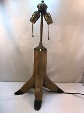 Vtg 1930-40's Deer Leg 4 Hooves Two Pull Chain Taxidermy Huntin Cabin Table Lamp