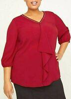 Womens Plus Size 2X 3X 4X 5X 22/24 26/28 30/32 Drape-Front Blouse Shirt Top Red