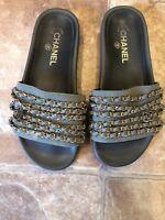 Womans Chanel Khaki Green Chain Slides, Size 38